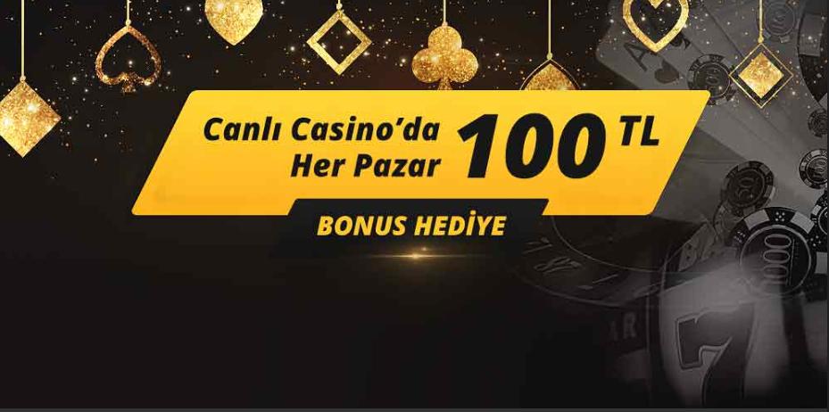 Canlı Casino'da her Pazar 100 TL Bonus Mobilbahis'te
